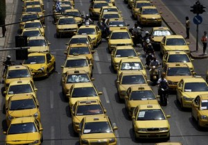 taxis in traffic