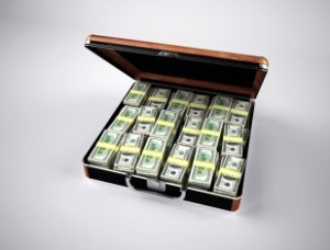 money inside a case